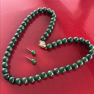 Jade necklace and earrings